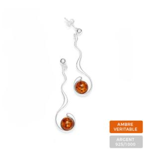 Boucles d'oreilles Ambre et Argent Perles Rondes