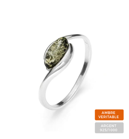 Bague Ambre et Argent Perle Ovale Vert