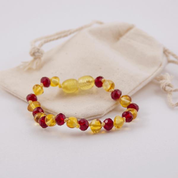 Bracelet Ambre Bébé Baroque Citron et Cristal Rouge