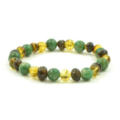 Bracelet Ambre Femme Ambre Vert et Jade d'Afrique