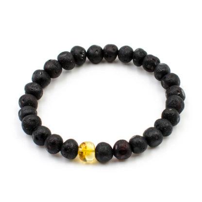 Bracelet Femme Ambre Brut Noir et Incrustation Citron