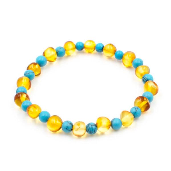 Bracelet Ambre Femme Miel et Turquoise