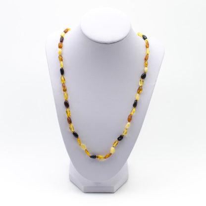 Sautoir Ambre Perles Ovales Multicolore