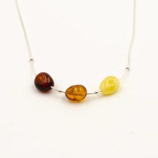 Collier Ambre et Argent 925/1000 3 Perles