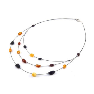 Collier Ambre Femme 3 Rangs Perles Ovales