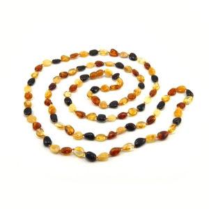 Sautoir Ambre Perles Ovales Multicolore 126cm