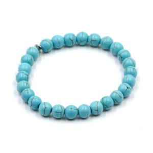 Bracelet Howlite Turquoise Perles Rondes 8mm