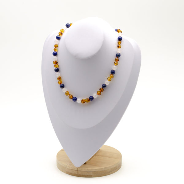Collier Ambre Femme Cognac Agate et Lapis Lazuli
