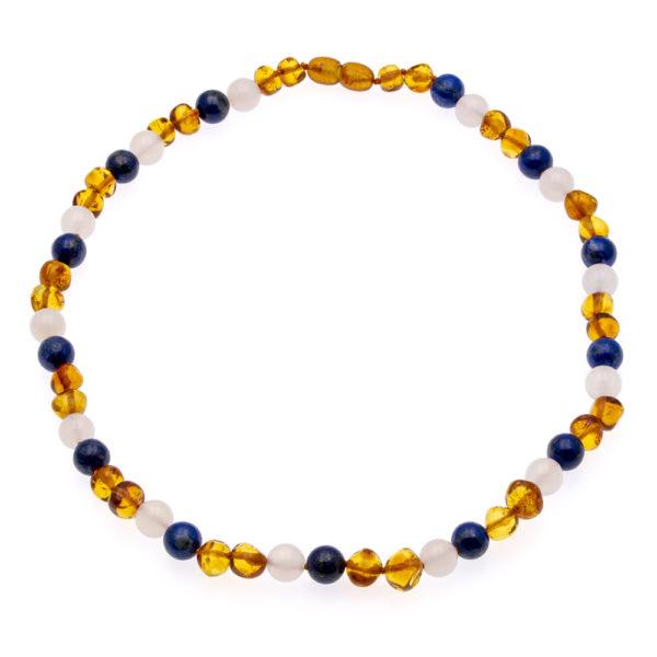 Collier Ambre Femme Lapis Lazuli et Agate