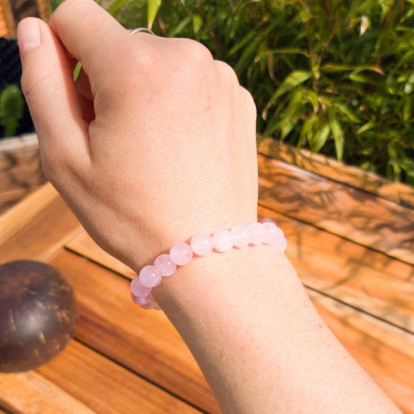 Bracelet Quartz Rose Porté